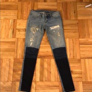 BLANK NYC patchwork skinny fit jeans
